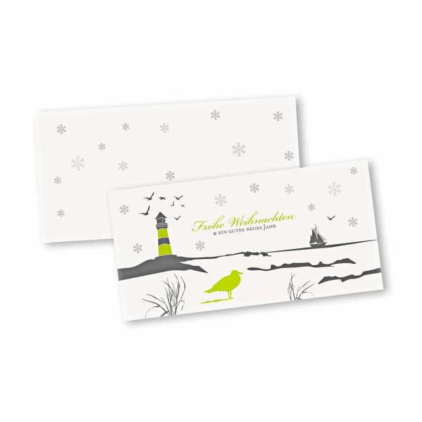 Weihnachtskarte – Klappkarte DIN-lang mit Kopffalz im Kartendesign Insel Weihnachten