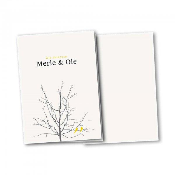 Einladungskarte – 4-Seiter DIN-A5 Kartendesign Verliebte Vögel im Baum