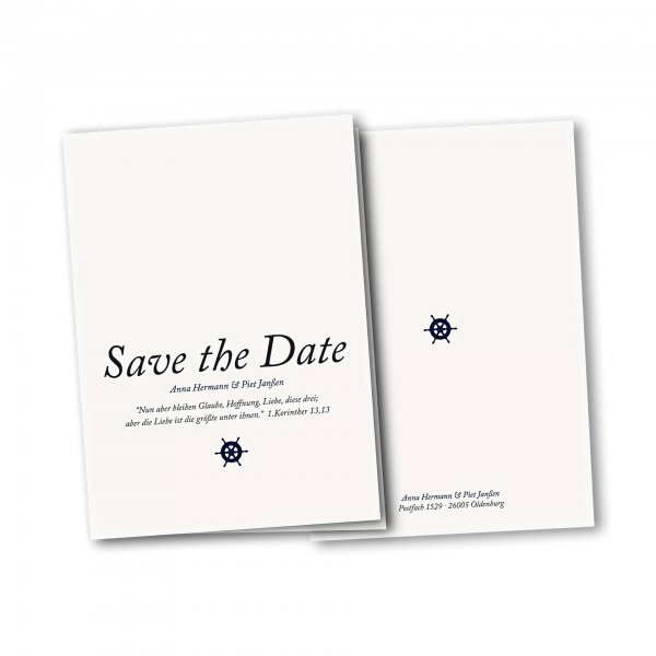 Einladungskarte – 4-Seiter DIN-A5 Kartendesign Kleines Steuerrad zur Hochzeit Version 2