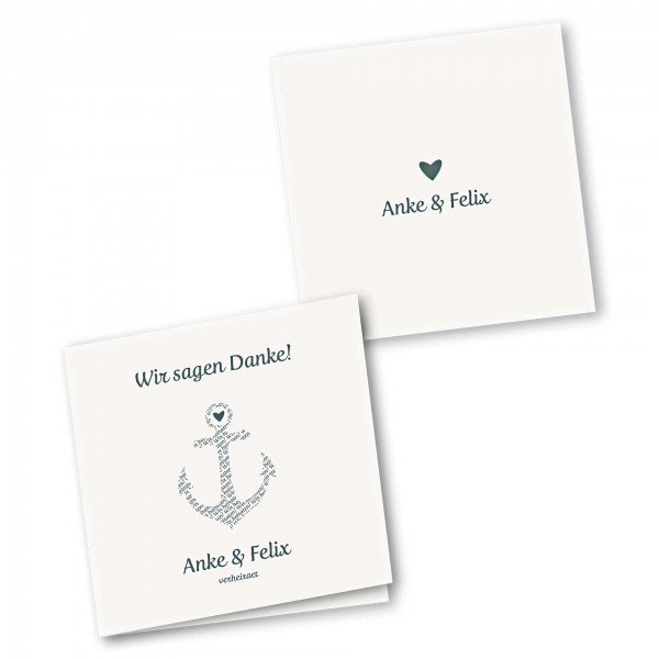 Danksagungskarte – 4-Seiter quadratisch Kartendesign Anker kombiniert mit Typografie Version 1