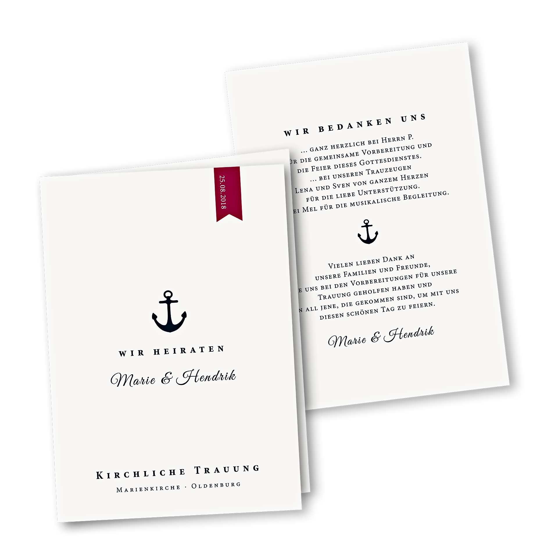 Menükarte – Kartendesign Anker und rotem Wimpel