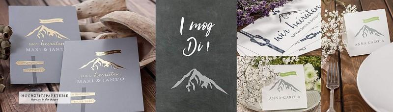 Design Hochzeit in den Bergen für Ihre Papeterie