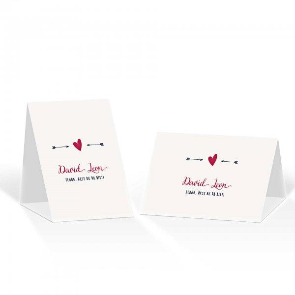 Platzkarte Aufsteller A6 – Kartendesign Amor trifft