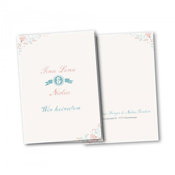 Einladungskarte – 4-Seiter DIN-A5 Kartendesign Dezente Blumen und florale Elemente