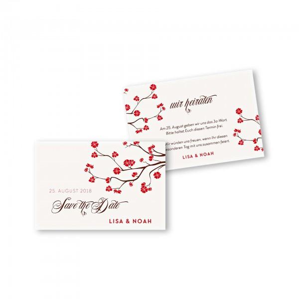 Save the Date flache Karte mit Umschlag – 2-Seiter DIN-A6 Kartendesign Baumblüte