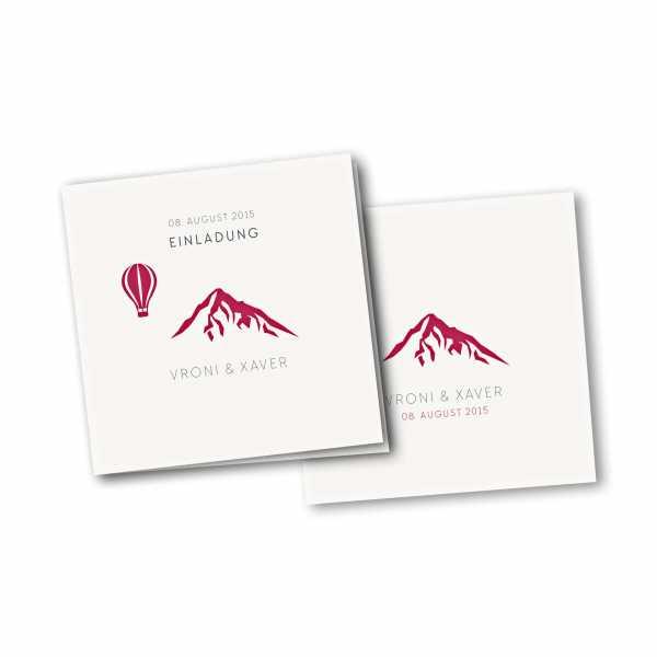Einladungskarte – 4-Seiter quadratisch Kartendesign Hochzeitsfeier in den Bergen Version 4