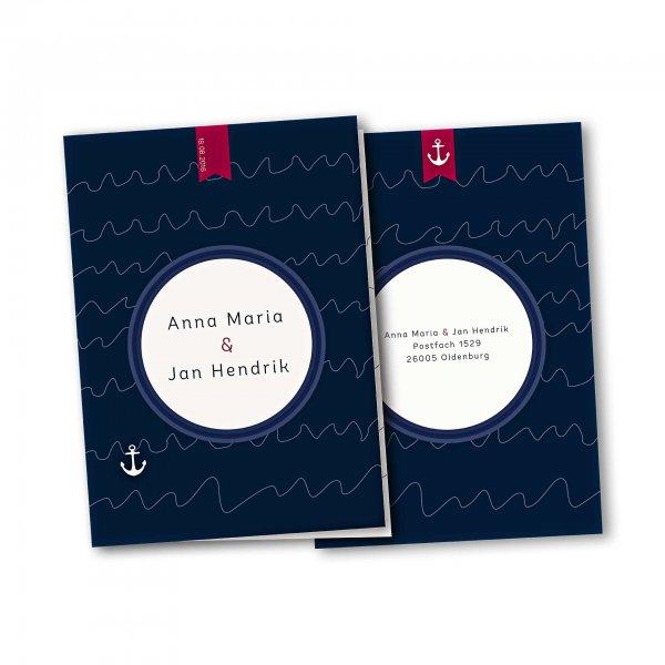 Einladungskarte – 4-Seiter DIN-A5 Kartendesign Maritime Hochzeitskarte mit Bullauge