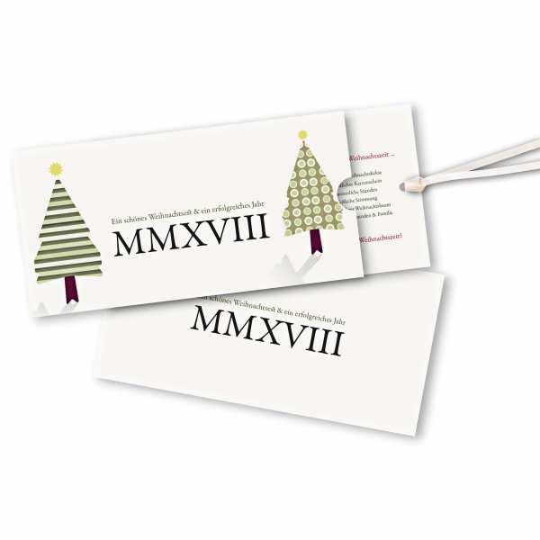 Weihnachtskarte – Schuberkarte DIN-lang mit Satinband MMVIII