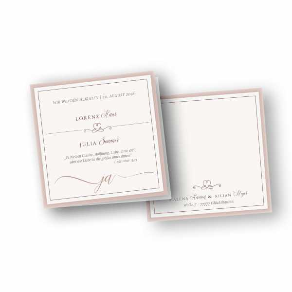 Einladungskarten – Klappkarte – quadratische Klappkarte mit Rückenfalz mit dem Design Romanze