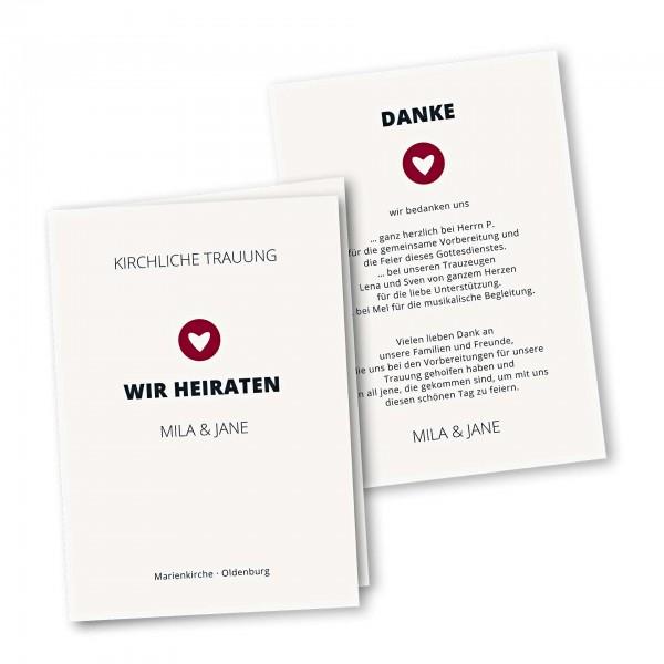 Kirchenheft 4 Seiter – Klappkarte DIN-A5 Kartendesign moderne Hochzeitskarte mit Herz im Kreis Version 1