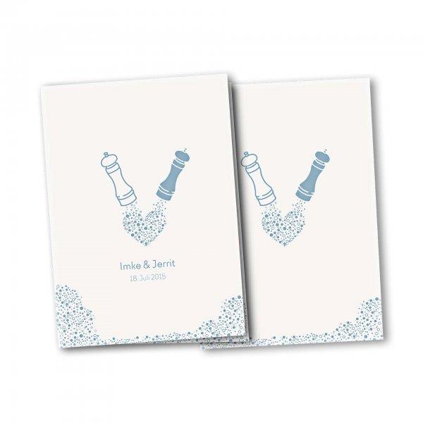 Einladungskarte – 4-Seiter DIN-A5 Kartendesign Wie Salz und Pfeffer Version 3
