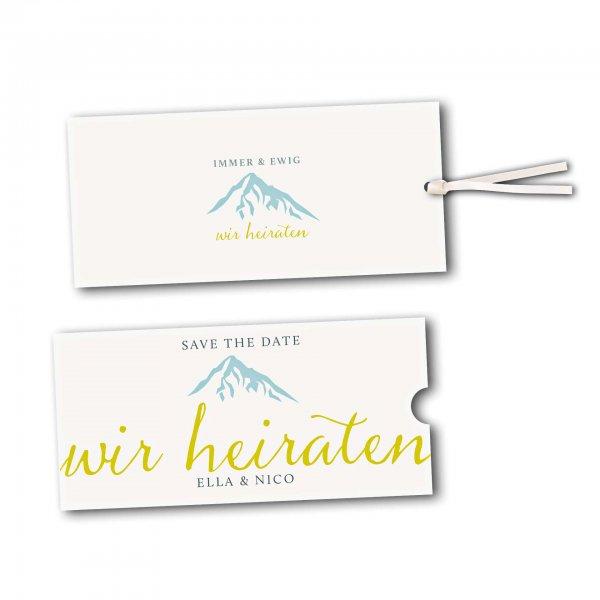 Schuberkarte - Kartendesign Hochzeitsfeier in den Bergen Version 3