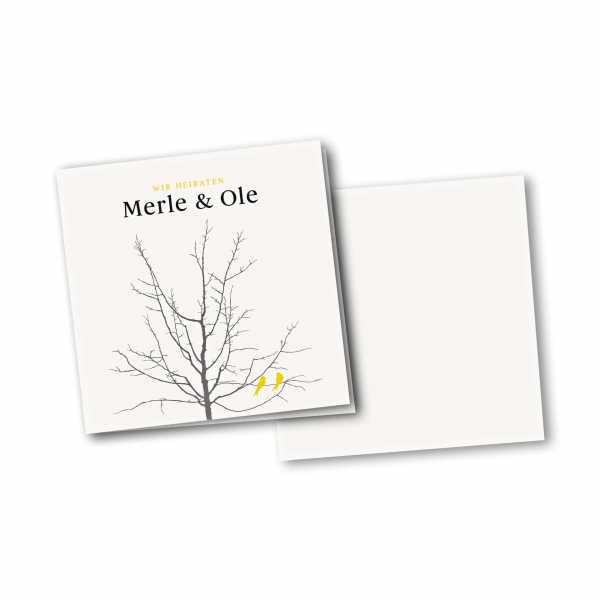 Einladungskarte – 4-Seiter quadratisch Kartendesign Verliebte Vögel im Baum