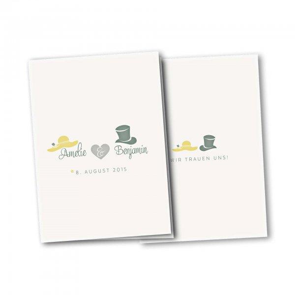 Einladungskarte – 4-Seiter DIN-A5 Kartendesign Dresscode Hochzeit