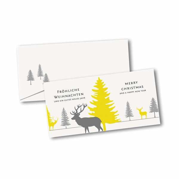 Weihnachtskarte – Klappkarte DIN-lang mit Kopffalz im Kartendesign Rentiere im dichten Tannenwald Version 2