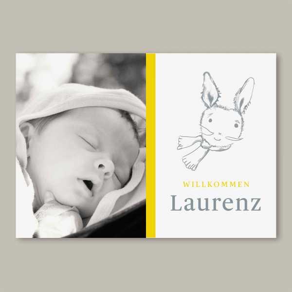 Geburtskarte – Klappkarte – 4-Seiter Klappkarte zur Geburt in der Größe DIN-A6 Querformat mit dem Design Laurenz