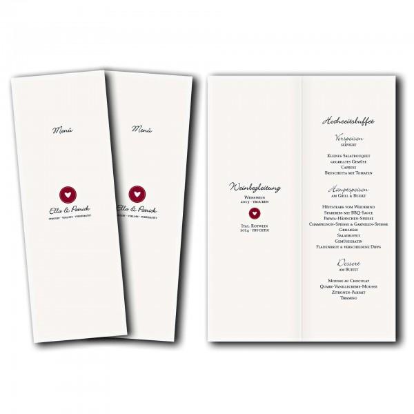 Menükarte – Kartendesign moderne Hochzeitskarte mit Herz-Siegel