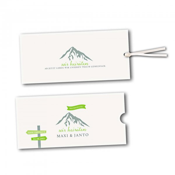 Schuberkarte - Kartendesign Hochzeitsfeier in den Bergen