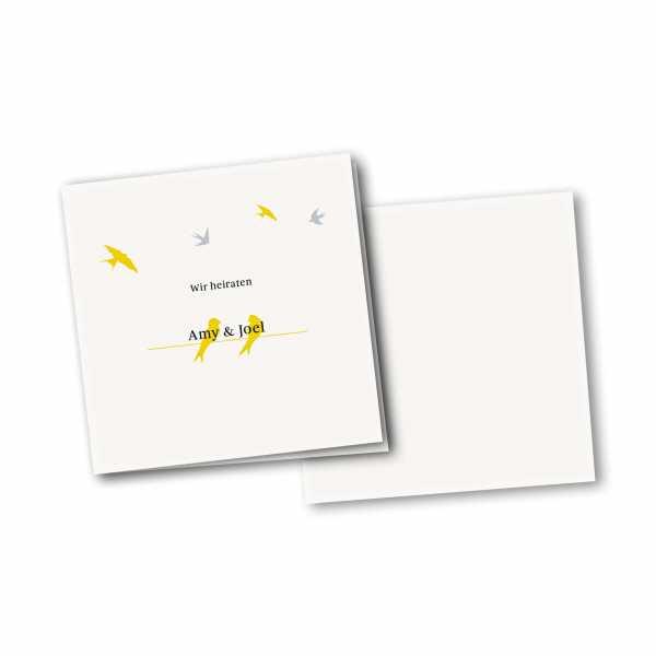 Einladungskarte – 4-Seiter quadratisch Kartendesign Verliebte Vögel