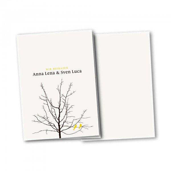 Einladungskarte – 4-Seiter DIN-A5 Kartendesign Verliebte Vögel im Baum Version 3