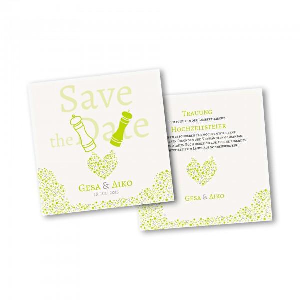 Save the Date Karte – 2-Seiter quadratisch Kartendesign Wie Salz und Pfeffer