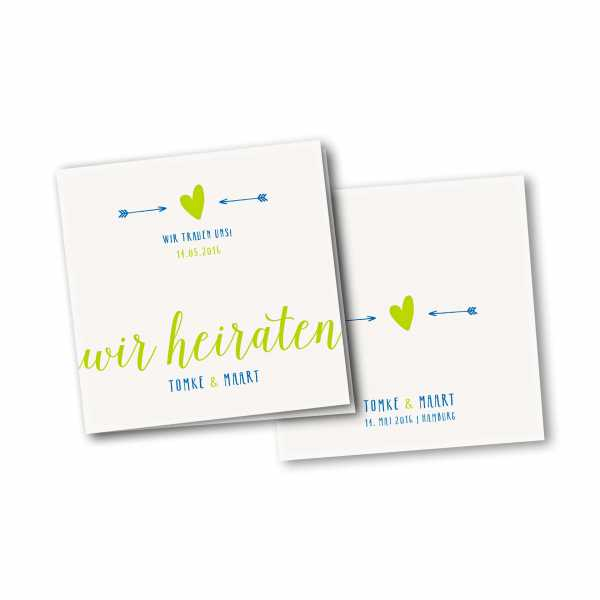 Einladungskarte – 4-Seiter quadratisch Kartendesign Amor trifft Version 3