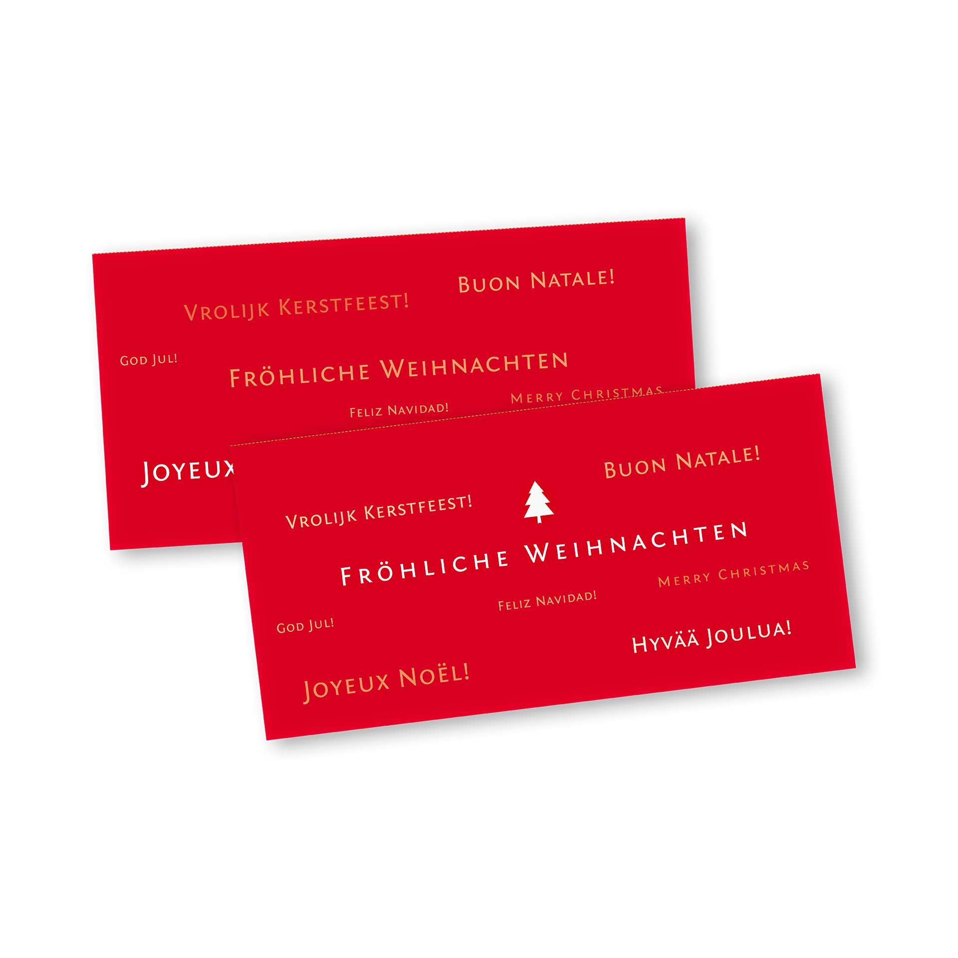 Frohe Weihnachten In Verschiedenen Sprachen.Weihnachtskarte Klappkarte Din Lang Mit Kopffalz Im Kartendesign Frohe Weihnachten In Vielen Sprachen Version 1