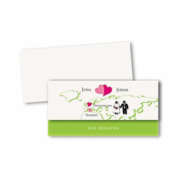 Einladungskarte – asymmetrische Klappkarte DIN-lang im Kartendesign Herzentreffen