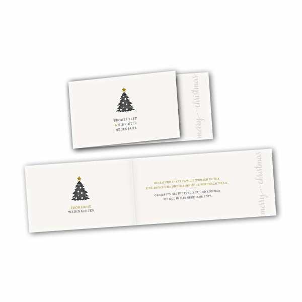 Weihnachtskarte – asymmetrische Klappkarte DIN-lang mit Rückenfalz im Kartendesign Schöne Weihnachten