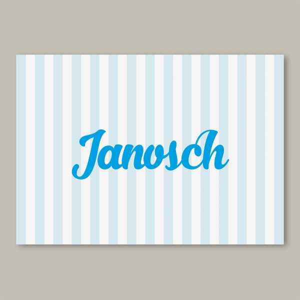 Geburtskarte – Klappkarte – 4-Seiter Klappkarte zur Geburt in der Größe DIN-A6 Querformat mit dem Design Janosch
