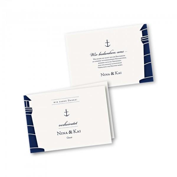 Danksagungskarte – 4-Seiter DIN-A5 Querformat Kartendesign Maritim