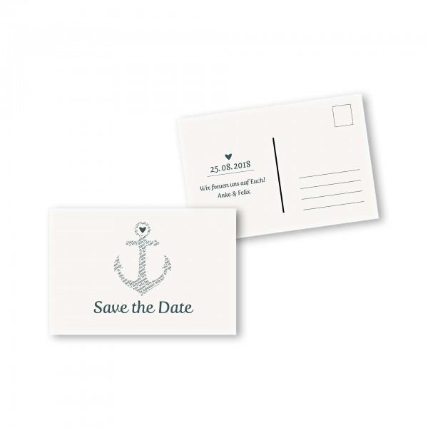 Save the Date Postkarte – 2-Seiter DIN-A6 Kartendesign Anker kombiniert mit Typografie Version 1