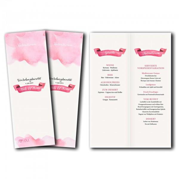 Menükarte – Kartendesign Rosa Wolken - Wir heiraten