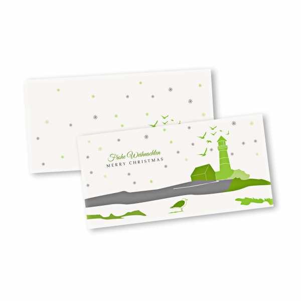 Weihnachtskarte – Klappkarte DIN-lang mit Kopffalz im Kartendesign Inselfest Version 2