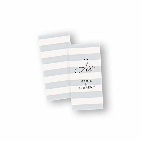 Einladungskarten – Klappkarte – DIN-lang im Hochformat mit Kopffalz mit dem Design Blockstreifen