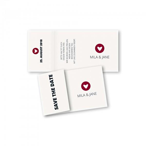 Save the Date Einklapperkarte – Klappkarte DIN-A6 Kartendesign moderne Hochzeitskarte mit Herz im Kreis Version 1