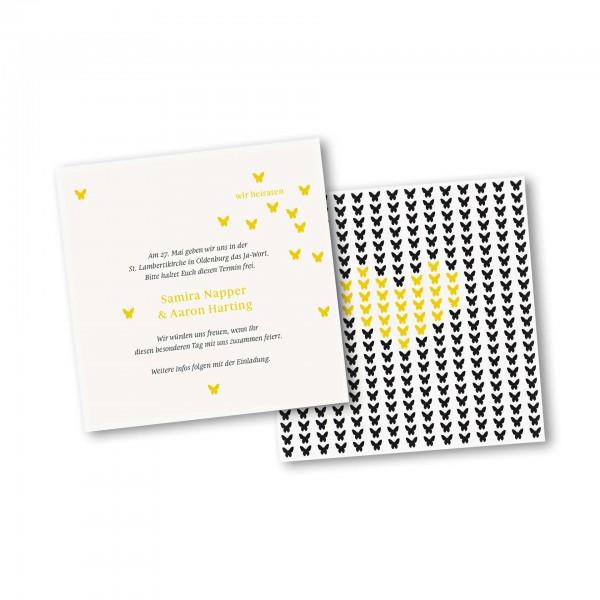 Save the Date Karte – 2-Seiter quadratisch Kartendesign Verliebte Schmetterlinge zur Hochzeit