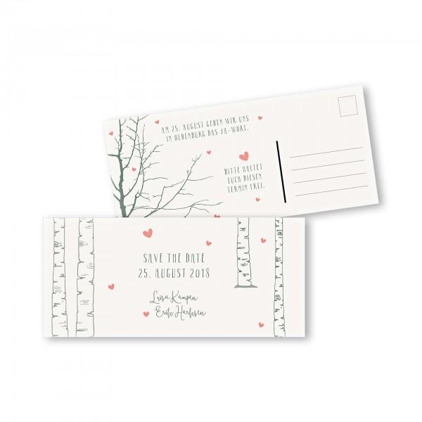 Save the Date Postkarte – 2-Seiter DIN-lang Kartendesign Verliebt unter Birken