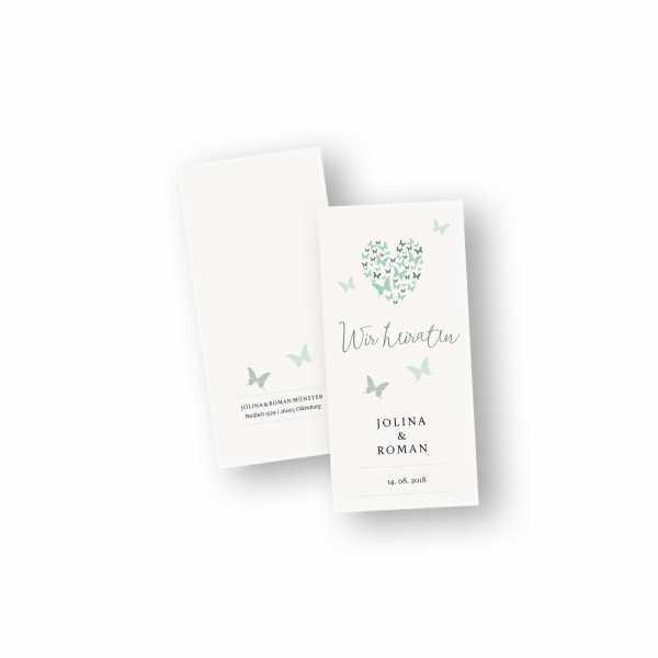 Einladungskarten – Klappkarte – DIN-lang im Hochformat mit Kopffalz mit dem Design butterfly heart
