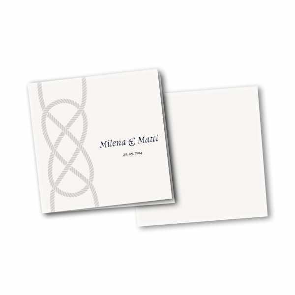 Einladungskarte – 4-Seiter quadratisch Kartendesign Kreuzknoten - maritime Hochzeitskarte