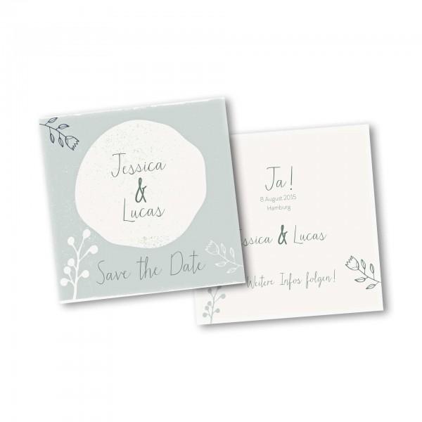 Save the Date Karte – 2-Seiter quadratisch Kartendesign Retro Hochzeit