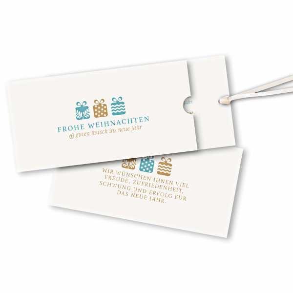 Weihnachtskarte – Schuberkarte DIN-lang mit Satinband Weihnachtsgeschenke