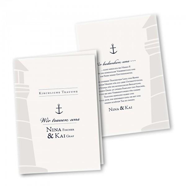 Kirchenheft 4 Seiter – Klappkarte DIN-A5 Kartendesign Maritim