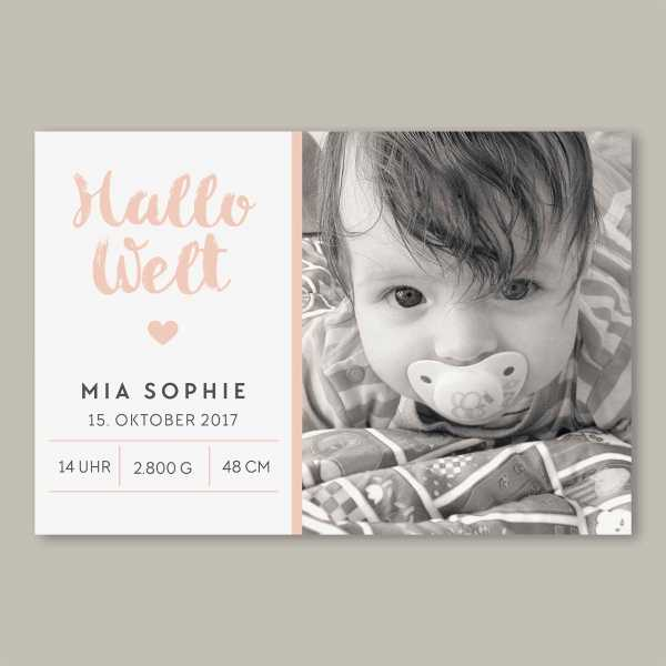 Geburtskarte – flache Karte mit Umschlag – 2-Seiter flache Karte zur Geburt in der Größe DIN-A6 Querformat mit dem Design Mia_Sophie