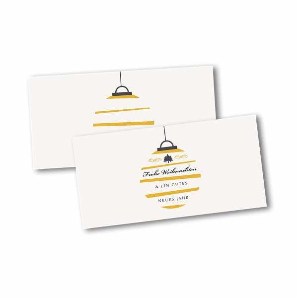 Weihnachtskarte – Klappkarte DIN-lang mit Kopffalz im Kartendesign Moderne Weihnachtskugel mit Streifen