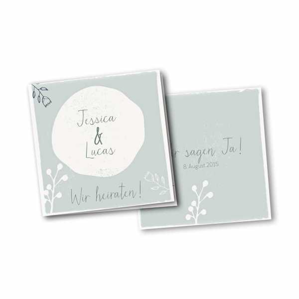 Einladungskarte – 4-Seiter quadratisch Kartendesign Retro Hochzeit