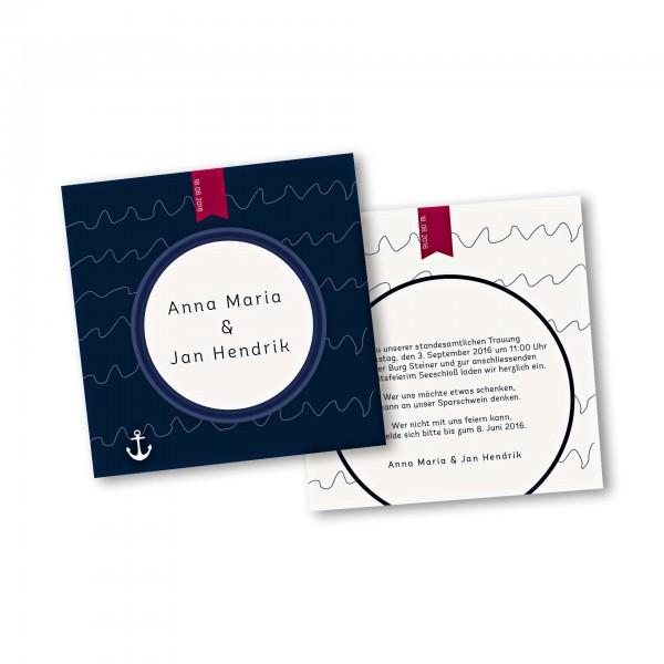 Save the Date Karte – 2-Seiter quadratisch Kartendesign Maritime Hochzeitskarte mit Bullauge