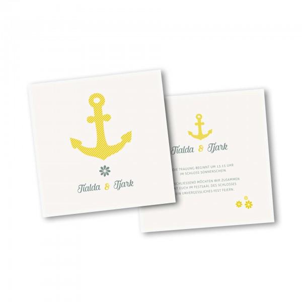 Save the Date Karte – 2-Seiter quadratisch Kartendesign Grosser Anker gestreift
