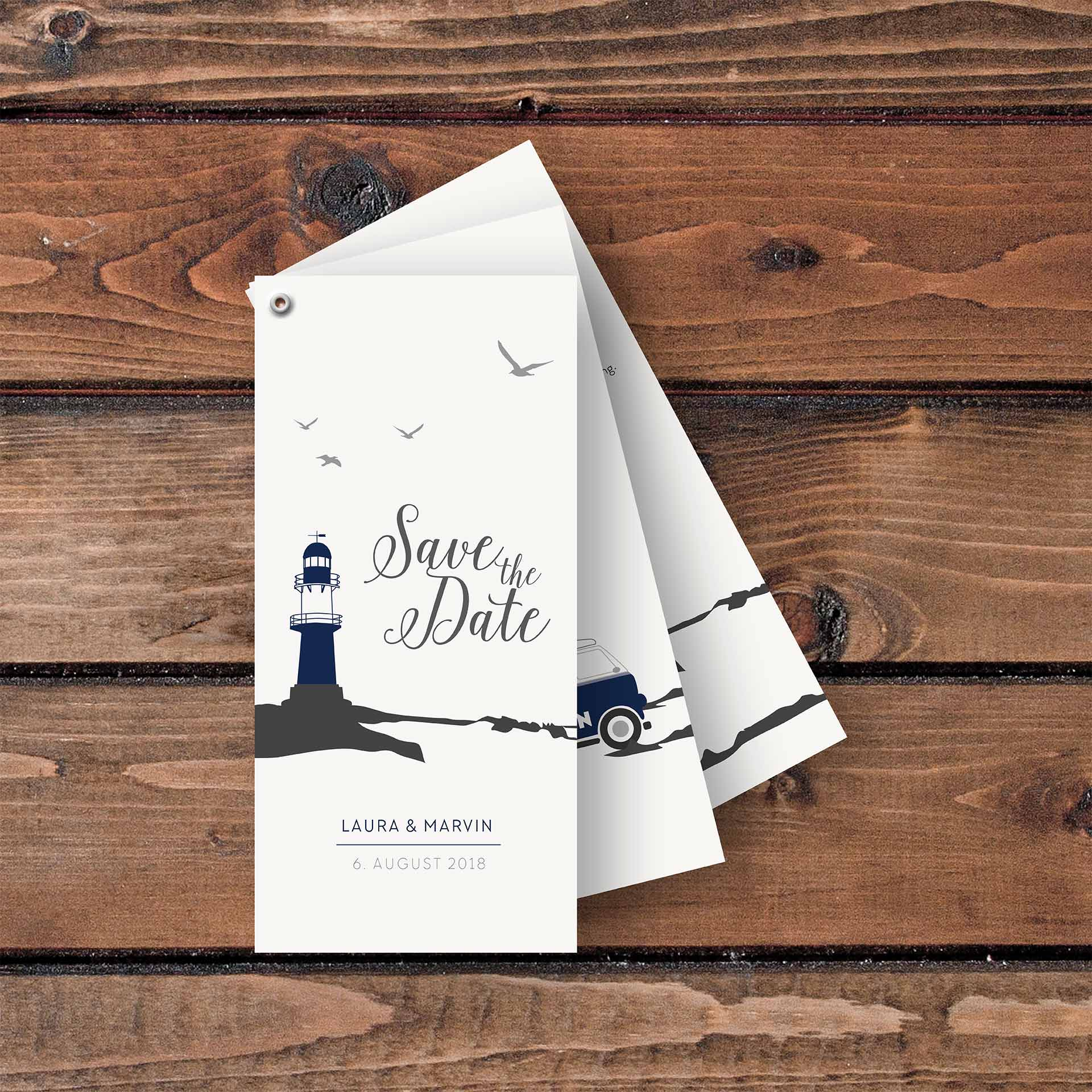 Einladungskarten Faecherkarten Meerblick