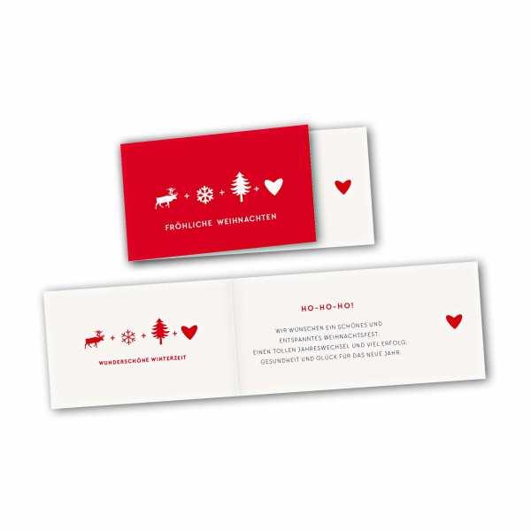 Weihnachtskarte – asymmetrische Klappkarte DIN-lang mit Rückenfalz im Kartendesign Schöne Weihnachtszeit knallrot